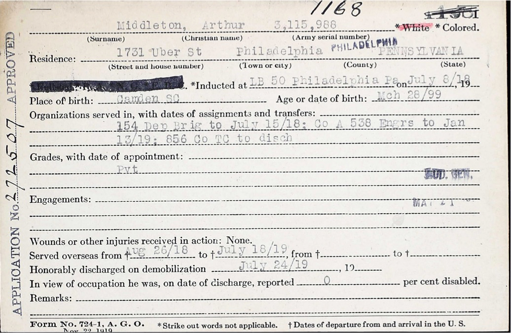 Arthur Middleton army separation application #272507, November 22, 1919. Public record provided by the author.