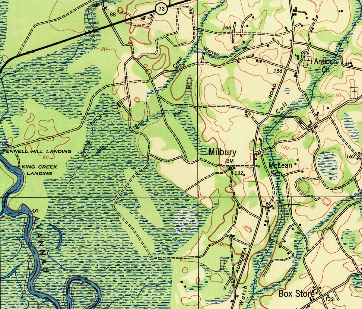 Detail from U.S. Geological Survey. Peeples quadrangle, South Carolina-Georgia [map]. First Edition 1943. 1:62,500. Reston, Va: United States Department of the Interior, USGS, 2016.