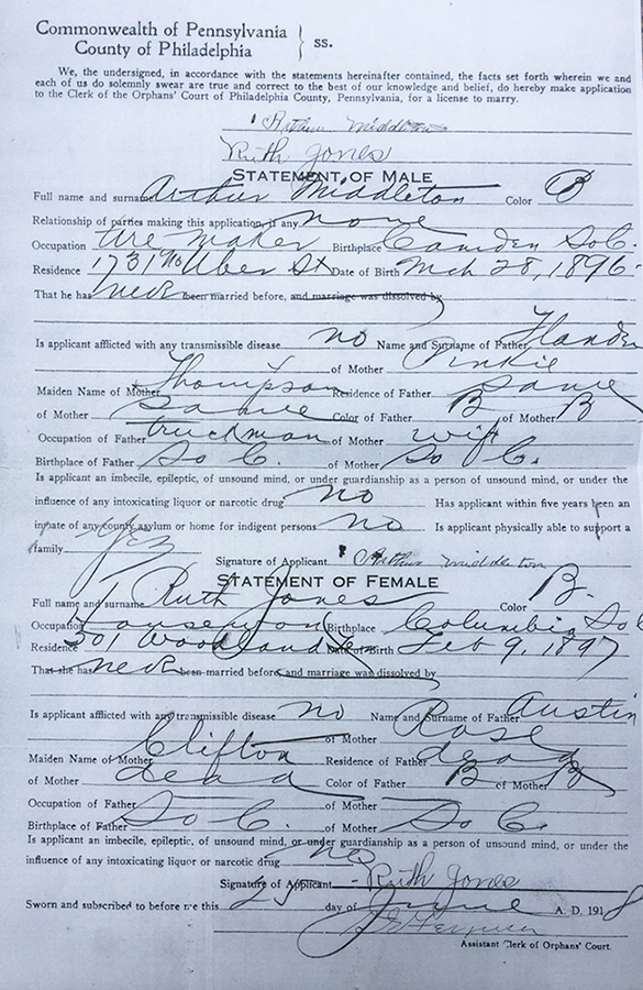 Marriage License Application of Arthur Middleton and Ruth Jones, County of Philadelphia, Commonwealth of Pennsylvania, June 25, 1918. Public record provided by the author.