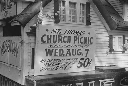 Marion Post Wolcott, Poster advertising church picnic near Bardstown, Kentucky, August 7, 1940. Library of Congress Prints and Photographs Division, FSA/OWI Black & White Negatives Collection, LC-USF33-030987-M4.