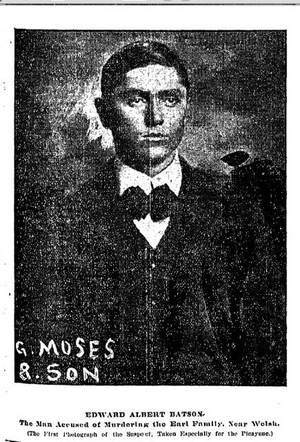 Edward Albert Batson, New Orleans Daily Picayune, 1902. Batson was found guilty of murder and executed