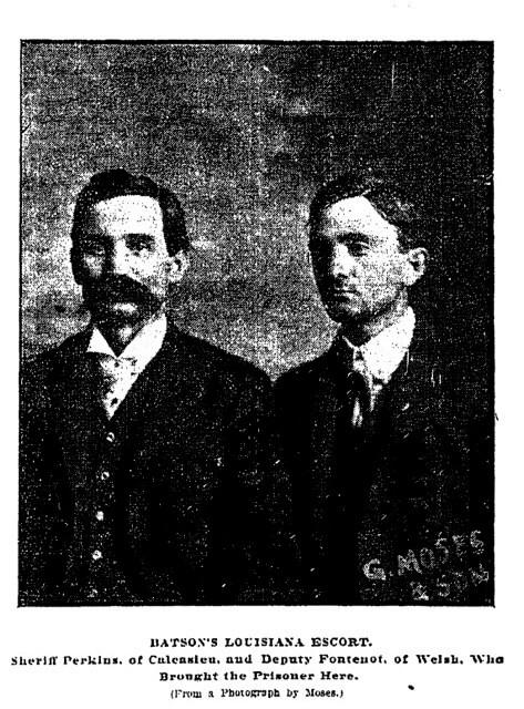 Sheriff Perkins and deputy Fontenot, Batson's Louisiana escorts. New Orleans Daily Picayune, 1902.