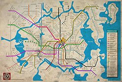 Big City Subway map, Brotherman comics. Artistic rendering by Dawud Anyabwile. Courtesy of Dawud Anyabwile.