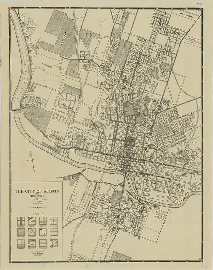 The City of Austin, 1919. Courtesy of the Perry-Castañeda Library Map Collection, Historical Maps of Texas Cities, The University of Texas at Austin.