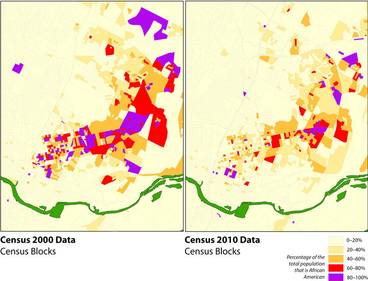 Changing African American Landscape, Eastern Core: African American Population Concentrations, 2000 and 2010. Map produced by Ryan Robinson, City Demographer, Department of Planning, City of Austin, February 2011. Map courtesy of Andrew M. Busch, 2015.