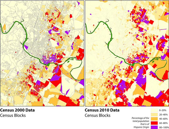 Changing Hispanic Landscape: Hispanic/Latino Population Concentrations, 2000 and 2010. Map produced by Ryan Robinson, City Demographer, Department of Planning, City of Austin, February 2011. Map courtesy of Andrew M. Busch, 2015.