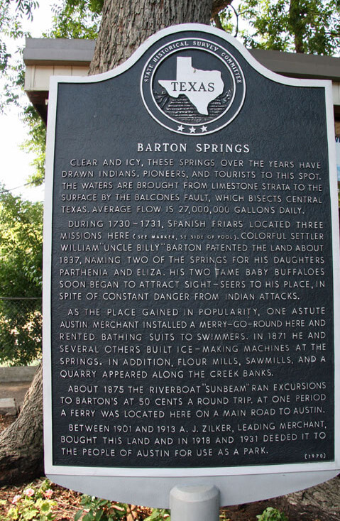 Barton Springs Historic Plaque in Zilker Metropolitan Park, Austin, Texas, March 16, 2009. Photograph by Matthew Rutledge. Courtesy of Matthew Rutledge (CC BY 2.0).