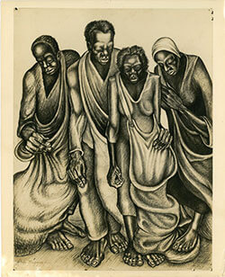 Cotton Pickers, 1947. Sketch by John Biggers, depicting his early realist style. Photo courtesy of John Biggers's Estate. John Biggers Papers, Emory University Manuscript, Archives, and Rare Book Library.
