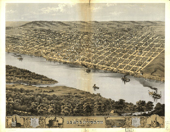 Bird's eye view of the city of Leavenworth, Kansas 1869. Drawn by A. Ruger. Library of Congress American Memory Archive