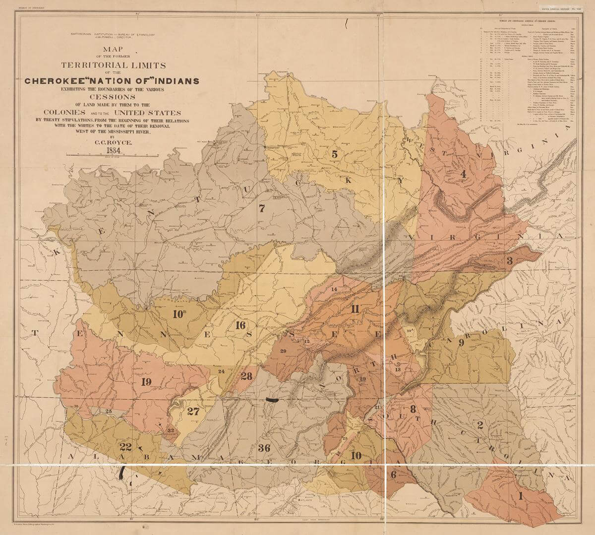 "Map of the former territorial limits of the Cherokee ""Nation of"" Indians, 1884. Map by Charles C. Royce. Courtesy of the North Carolina Collection, Smithsonian Institution, Bureau of Ethnology. Map is in public domain."