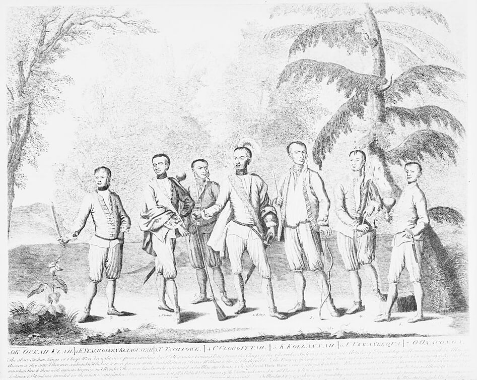 Seven Cherokee chief delegates accompanying Sir Alexander Cumming to London, 1730. These chiefs represented every region in which the Cherokee then lived. Engraving by Isaac Basire. Courtesy of Wikimedia Commons. Engraving is in public domain.