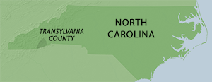 Location of Transylvania County in North Carolina. Map by Southern Spaces, 2014.