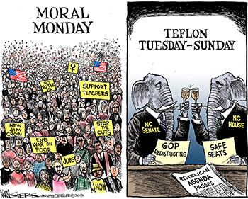 Moral Monday, July 30, 2013. Cartoon by Kevin Siers. Reprinted with permission, Kevin Siers, The Charlotte Observer.