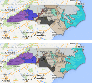 2001 (top) and 2011 (bottom) North Carolina congressional district maps. Map by the North Carolina State Board of Elections and Google Maps.