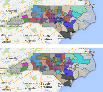 2003 (top) and 2011 (bottom) North Carolina Senate district maps. Map by the North Carolina State Board of Elections and Google Maps.