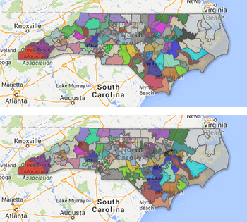 2009 and 2011 North Carolina House district maps.