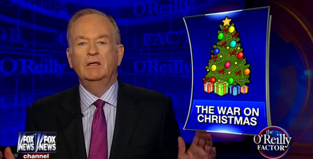 """Millions of voters seem convinced that the greatest threat to our nation is the """"war on Christmas."""" This still is from the December 2, 2014 episode of the The O'Reilly Factor on Fox News."""