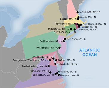 Documented middle passage sites in the continental United States, 2014. Map by Lynn Carlson.