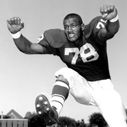 Bobby Bell played for the University of Minnesota before turning professional as outside linebacker with the Kansas City Chiefs. In 1983, Bell was inducted into the Pro Football Hall of Fame. Photograph by University of Minnesota Football, ca. 1962. © Golden Gopher Gridiron, University of Minnesota Football.
