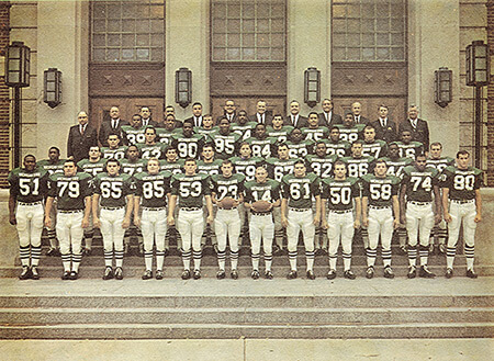 1965 Michigan State University varsity football team. Photograph reproduced by permission of the MSU Photograph Collection, Michigan State University Archives & Historical Collections, 1965. © Michigan State University.