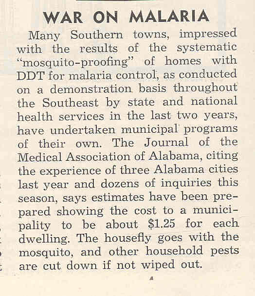 War on Malaria newspaper clipping, ca. 1947. Scan by Flickr user Ted Kerwin. Creative Commons license CC BY 2.0.