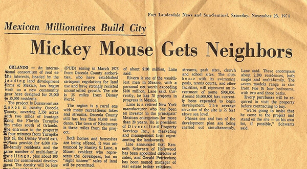 """Mickey Mouse Gets Neighbors,"" Fort Lauderdale News and Sun-Sentinel, November 23, 1974."