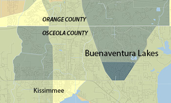 Buenaventura Lakes, Florida. Data from the 2010 Census, Hispanic population according to census tract. Map courtesy of Southern Spaces.