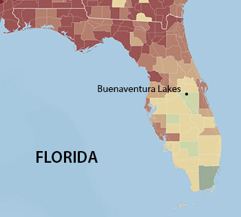 Buenaventura Lakes, Florida. Data from the 2010 Census, Hispanic population according to county. Map courtesy of Southern Spaces.