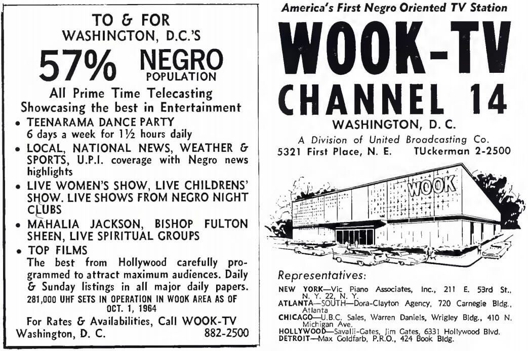 WOOK-TV, which broadcast Teenarama Dance Party, was the first black oriented television station in the country. 1965, Broadcasting Yearbook, p. A-10.