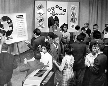 Bob King watches dancers on Teenarama, Washington DC, ca. 1960s, in Kendall Productions Records, Smithsonian Anacostia Community Museum.
