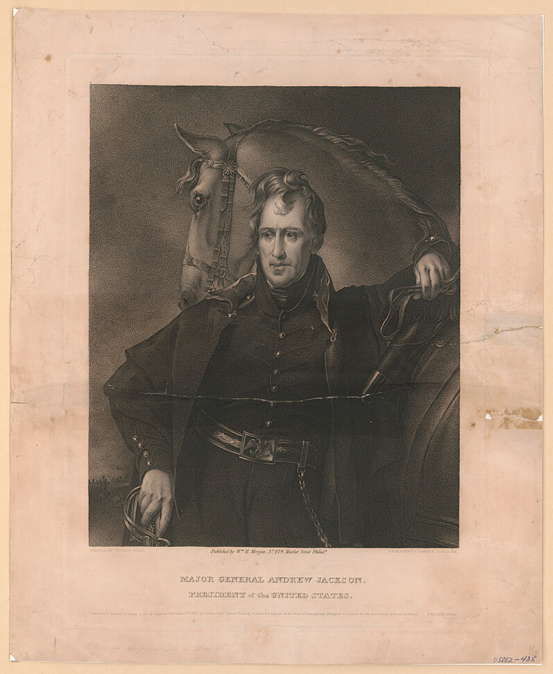 Major General Andrew Jackson, Philadelphia, ca. 1820. Portrait by Thomas Sully, engraving by James B. Longacre. Courtesy of the Library of Congress Prints and Photographs Division, loc.gov/item/96521560/.