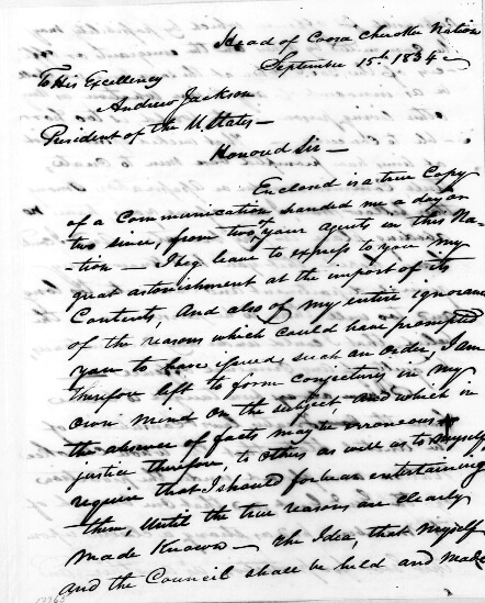 John Ross to Andrew Jackson, September 15, 1834. Letter by John Ross. Courtesy of the Andrew Jackson Papers, the Library of Congress Manuscript Division, loc.gov/resource/maj.01087_0182_0186/.