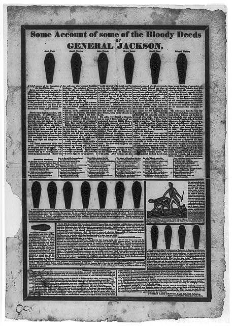 """One of the well-known coffin hand bills originated by Republican editor John Binns in his campaign against presidential candidate Andrew Jackson. The six coffins across the top of the broadside represent six militiamen executed under Jackson's orders during the Creek War in 1813. Other coffins represent soldiers and Indians allegedly condemned and executed by Jackson. The broadside's text is a catalog of these and similar atrocities attributed to the candidate. A woodcut scene at lower right portrays Jackson assaulting and stabbing Samuel Jackson in the streets of Nashville. Another version of the handbill, reproduced by Lorant, has the same text but substitutes a reversed copy of the cut at lower right."""