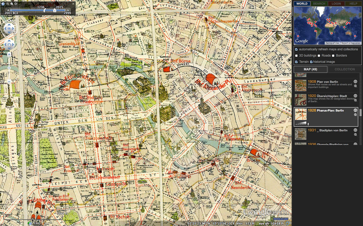 "Screenshot of HyperCities Earth showing a 1926 Pharus map of Berlin. Screenshot courtesy of Southern Spaces. From Andrew Battista, ""Spatial Humanities and Modes of Resistance: A Review of Hypercities."""