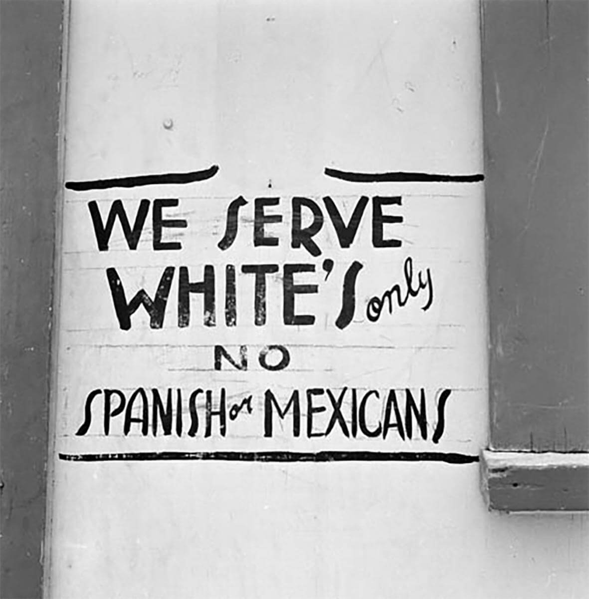 Discrimination sign, Dimmitt, Texas, 1949. Photograph by Russell Werner Lee. Courtesy of Dolph Briscoe Center for American History, University of Texas at Austin.
