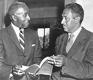 Louis R. Redding, left, of Wilmington, Del., and Thurgood Marshall, general counsel for NAACP, conferring at the Supreme Court during a recess in the court's hearing on racial integration in the public schools, Washington, D.C., 1955. Library of Congress, Prints and Photographs Division, LC-USZ62-117797.