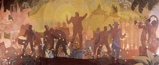 Aspects of Negro Life: From Slavery through Reconstruction. Mural panel by Aaron Douglas, 1934. The Schomburg Center for Research in Black Culture, Art and Artifacts division, The New York Public Library.