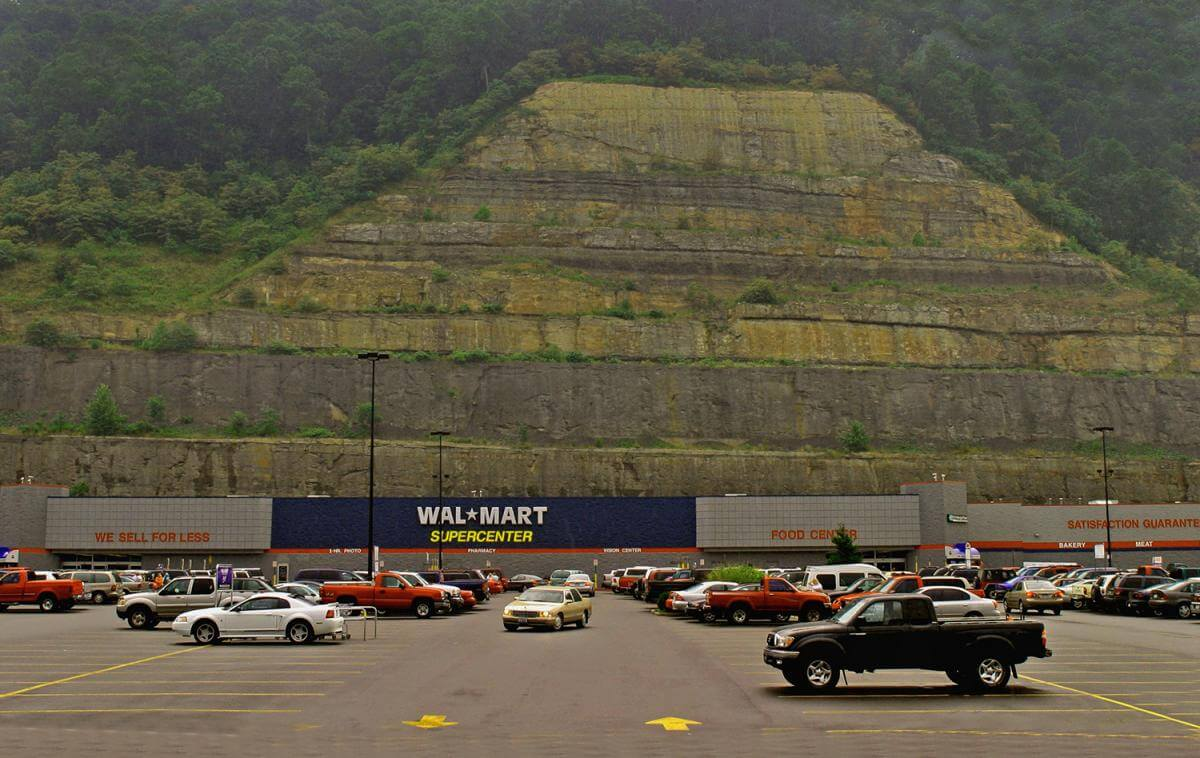 Walmart, situated in a shopping center several miles from downtown Logan on a strip mine bench, 2005.