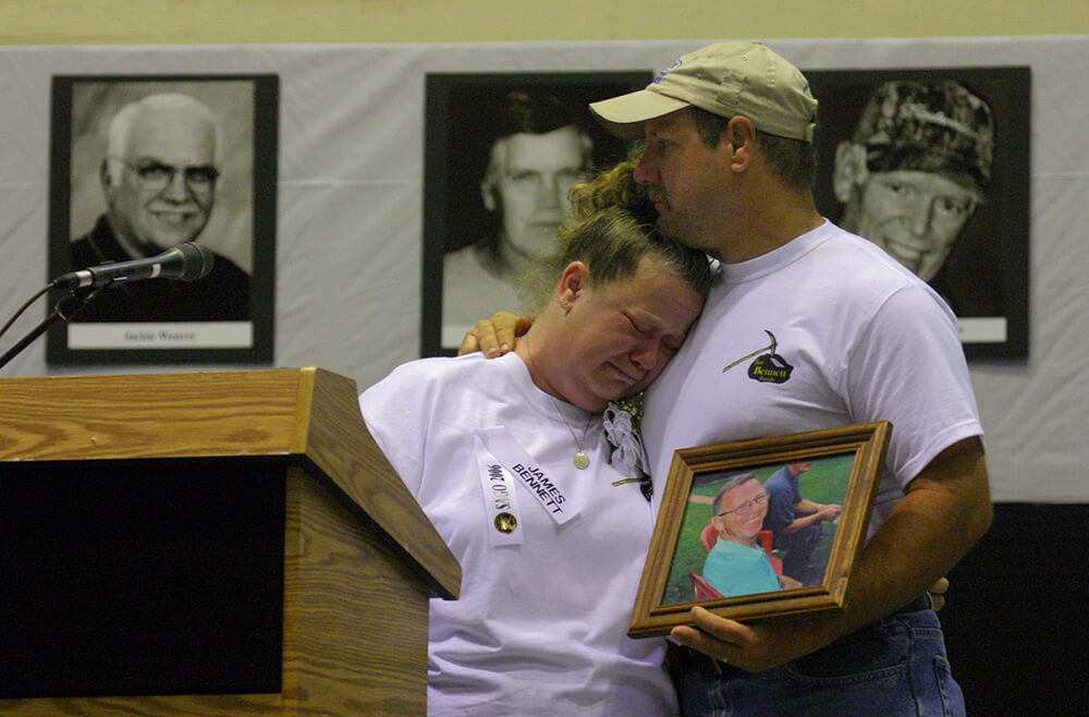Relatives of Sago Mine disaster victims at hearing in Buckhannon, WV, on May 2, 2006.