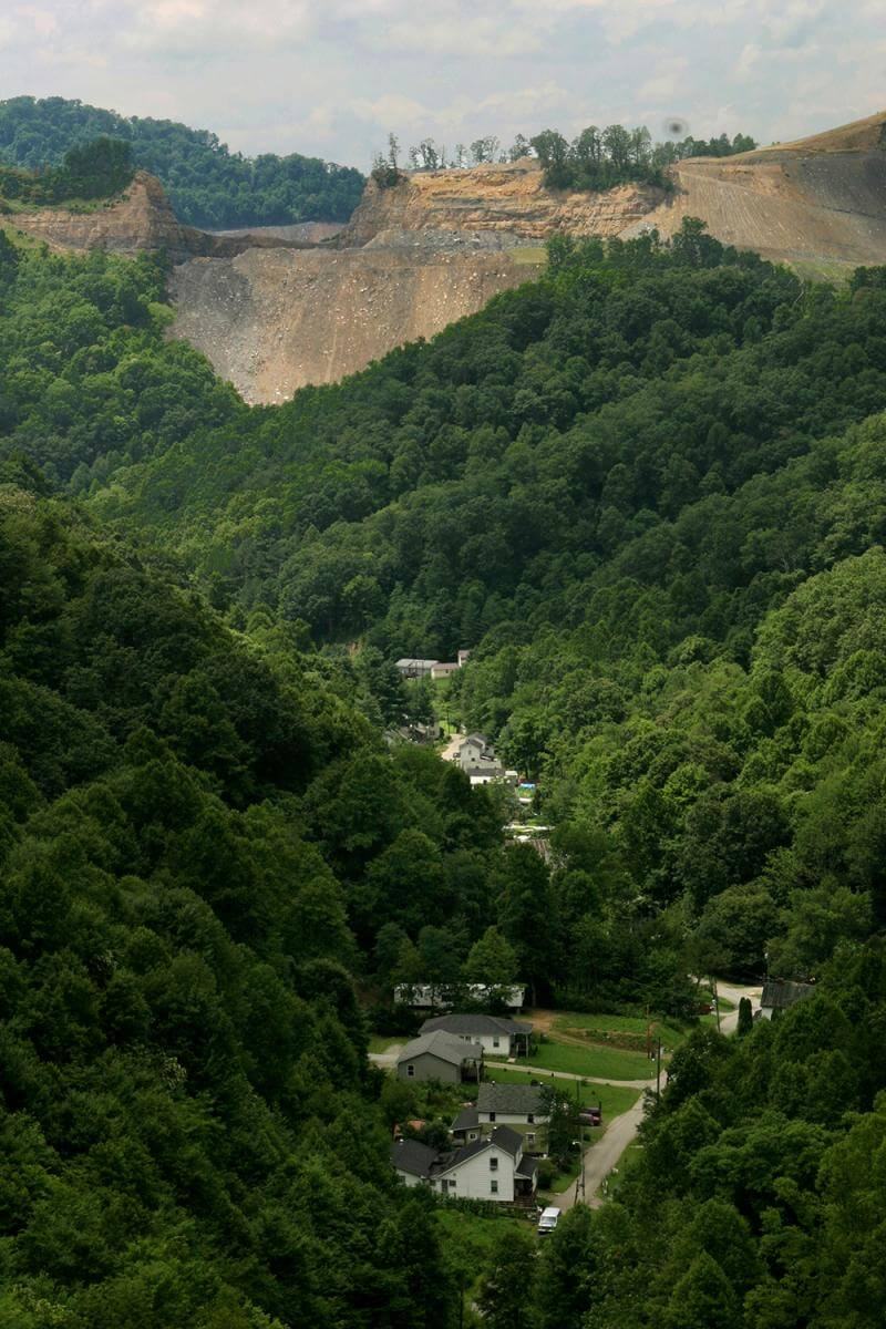 Mountaintop removal/mine site above McRoberts, Kentucky in Letcher County, 2005.