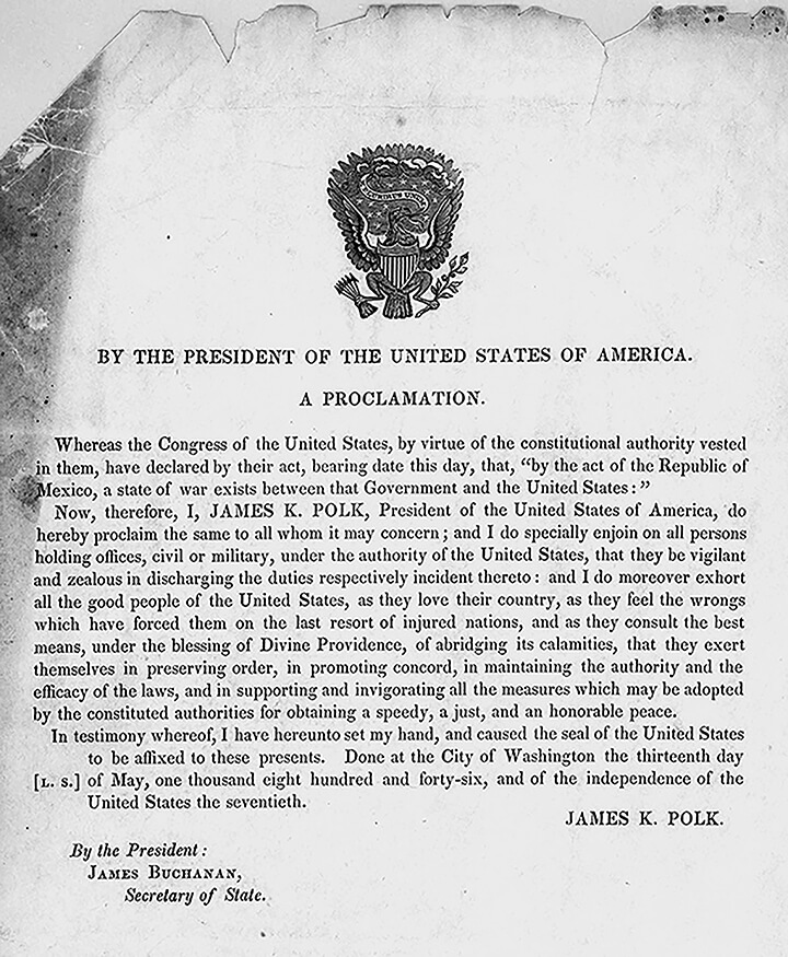 By the President of the United States of America. A proclamation, Washington, D.C., 1846. Proclamation by James K. Polk. Courtesy of the Library of Congress Rare Book and Special Collections Division, loc.gov/resource/rbpe.19800400.