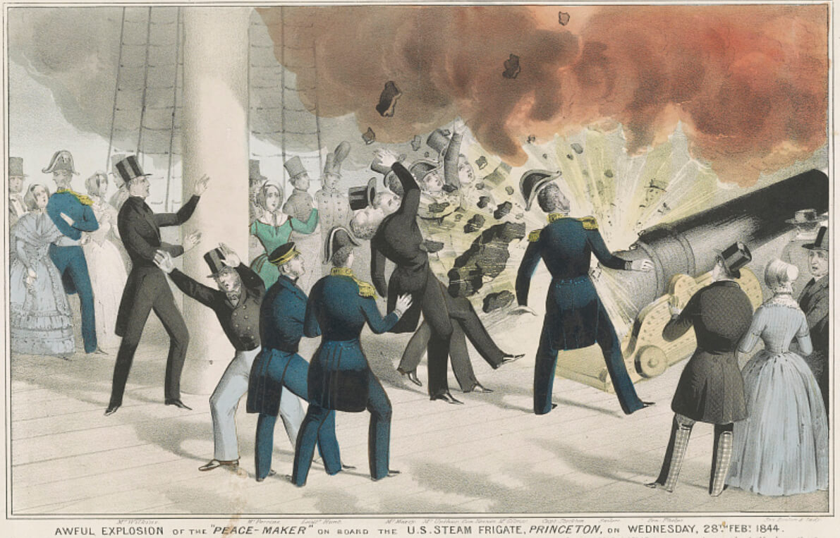 "Awful explosion of the ""peace-maker"" on board the U.S. Steam Frigate, Princeton, on Wednesday 28th Feb 1844, New York, 1844. Lithograph by N. Currier. Courtesy of the Library of Congress Prints and Photographs Division, loc.gov/item/90708862."