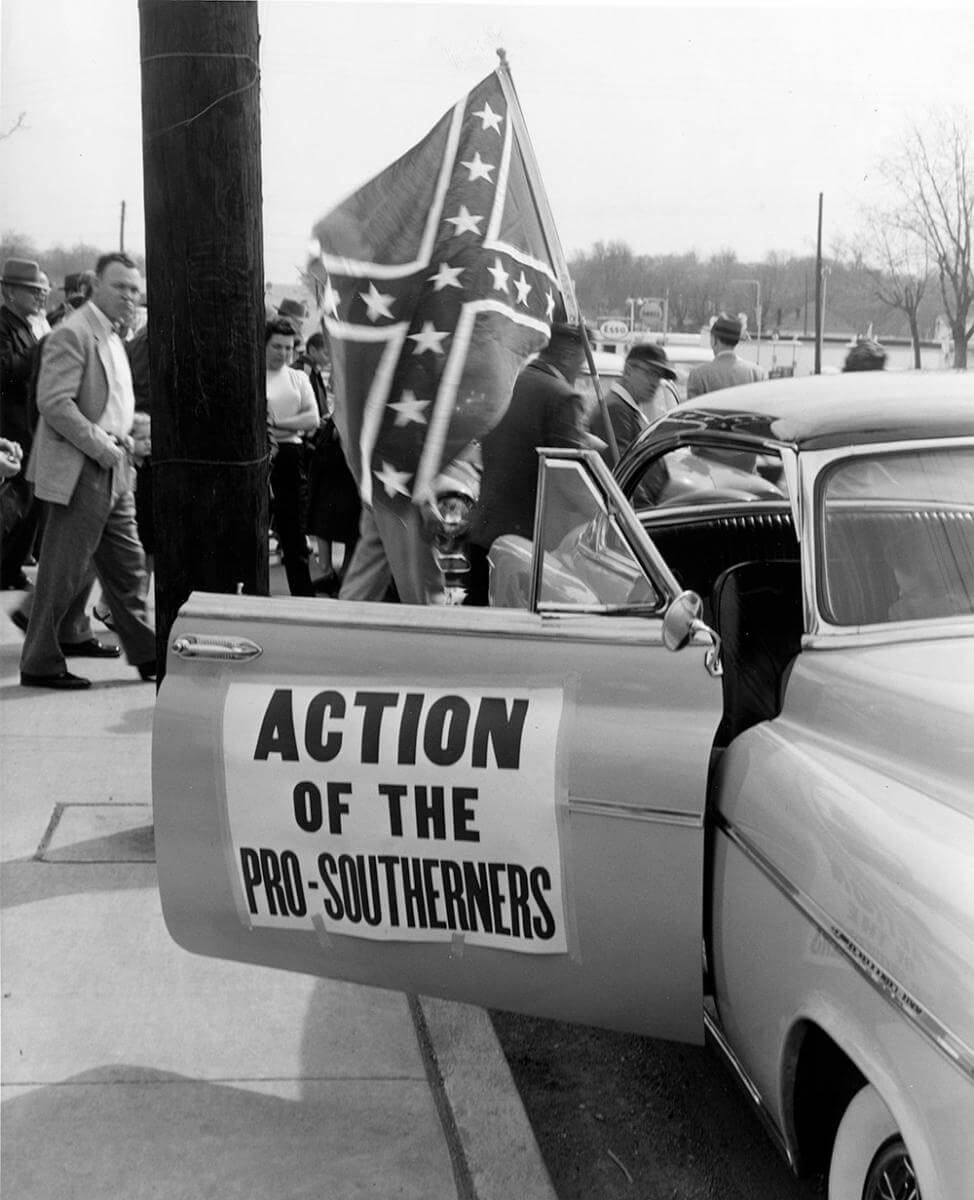 Car at segregationist rally, Nashville, TN, March 1956. © Nashville Public Library.​​