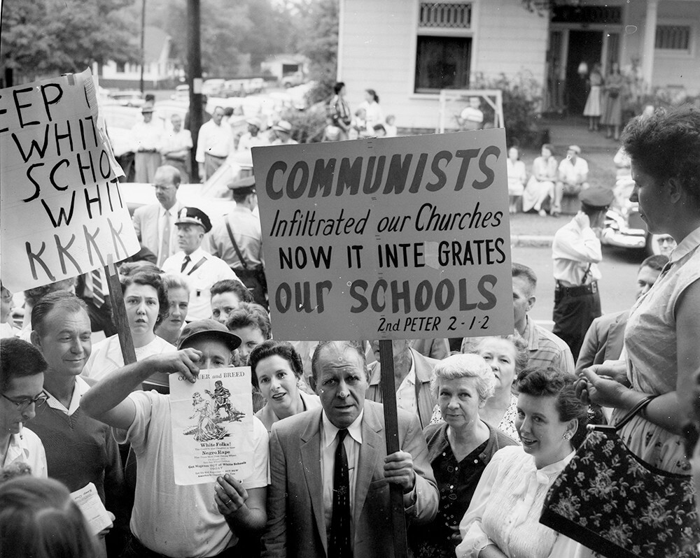 Fred Stroud leads protest against desegregation, Nashville, TN, 1957. © Nashville Public Library.​​