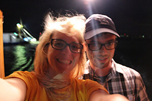 Selfie at dawn on a trawl boat, Chauvin, Louisiana, June 2013. Photograph by Lindsey Feldman.