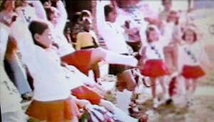 """""""TWUA"""" cheerleaders featured in Gloria Steinem's PBS series Woman Alive!, 1973–1974."""