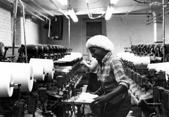 Woman Working with Textiles. Courtesy of Special Collections and Archives, Georgia State University Library, Southern Labor Archives, Amalgamated Clothing and Textile Workers Union, Memphis-Jackson Joint Board Records, L1992-11_73.