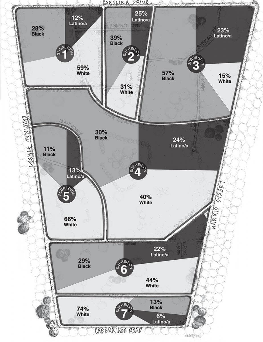 Creekridge Park Demographics. From Behind the White Picket Fence: Power and Privilege in a Multiethnic Neighborhood by Sarah Mayorga-Gallo. Copyright © 2014 by the University of North Carolina Press. Used by permission of the publisher. www.uncpress.unc.edu.