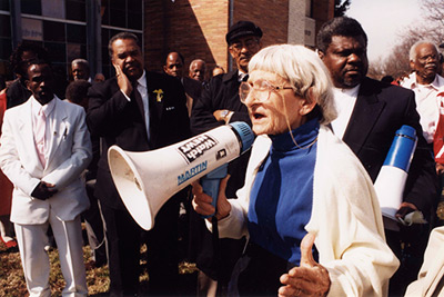 Anne Braden speaking at a rally, Louisville, Kentucky, 2002. Reproduced by permission from the Wisconsin Historical Society.