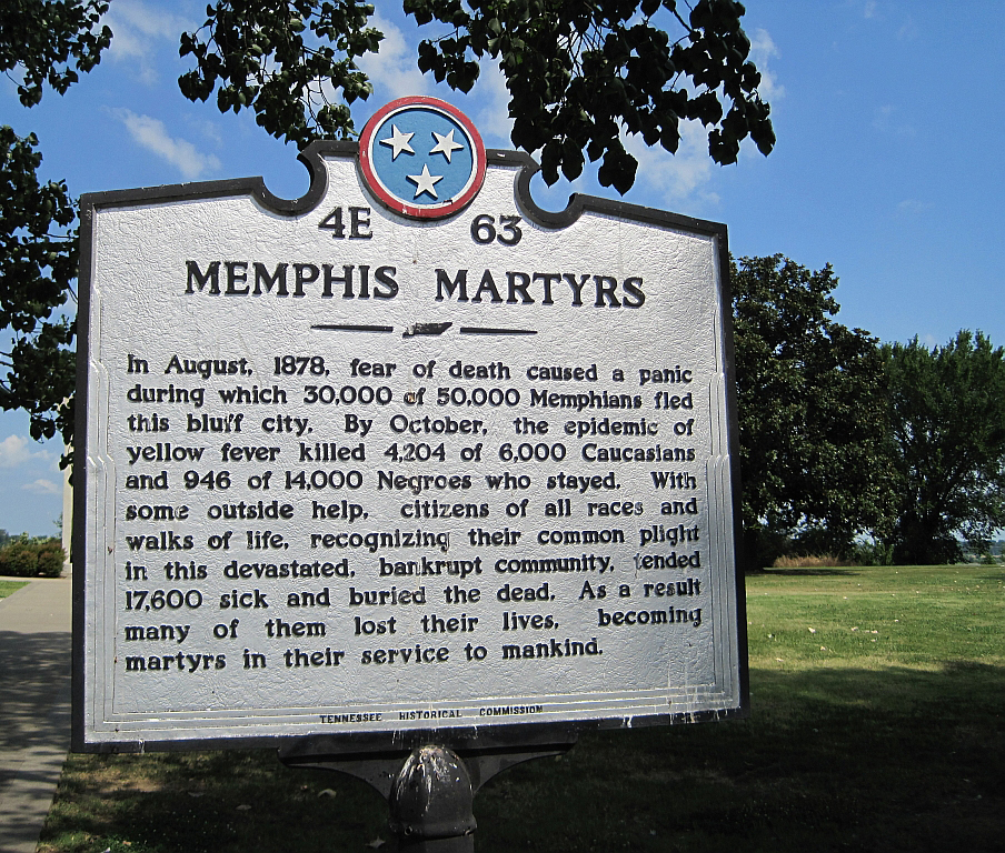 Memphis Martyrs historical marker, Memphis, Tennessee, July 4, 2010. Photograph by Wikimedia Commons user Thomas R. Machnitzki. Creative Commons license CC BY 3.0.